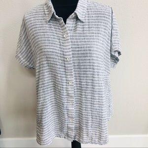 Cabi linen button down striped shirt shirt sleeve